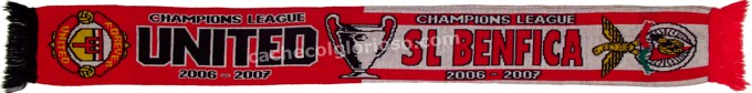 cachecol benfica manchester liga campeoes 2006-07