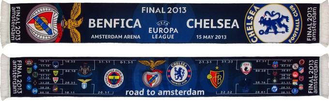 cachecol benfica chelseas final 2013 road to amsterdam