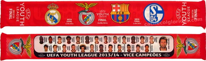 cachecol benfica youth league 2013-14 vice campeoes