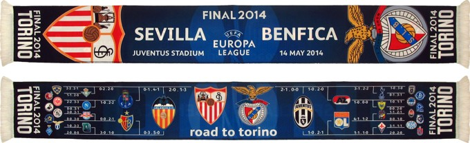 cachecol benfica sevilla final 2014 road to torino