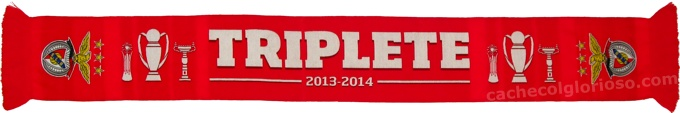 cachecol sl benfica triplete 2013-14