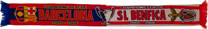 cachecol benfica barcelona liga campeoes 2005-06