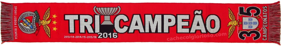 cachecol benfica tricampeao 2016 35 campeonatos