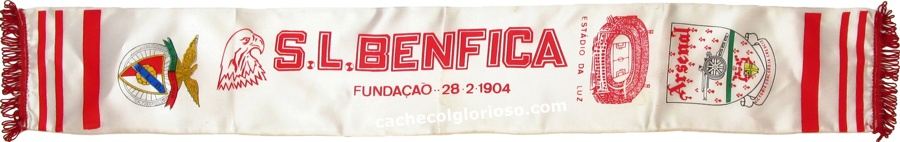 cachecol benfica arsenal     liga campeoes 1991-92